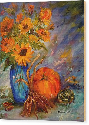 Autumn Impressions Wood Print by Barbara Pirkle