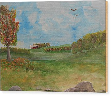 Autumn In New York Wood Print by Barbara McNeil
