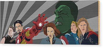 Avengers Assemble Wood Print by Lisa Leeman