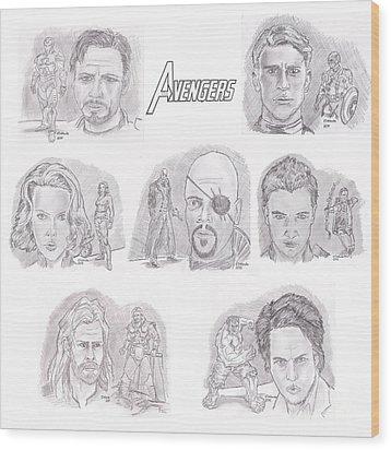 Avengers Team Wood Print by Chris  DelVecchio