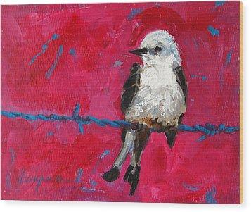 Baby Bird On A Wire Wood Print by Patricia Awapara