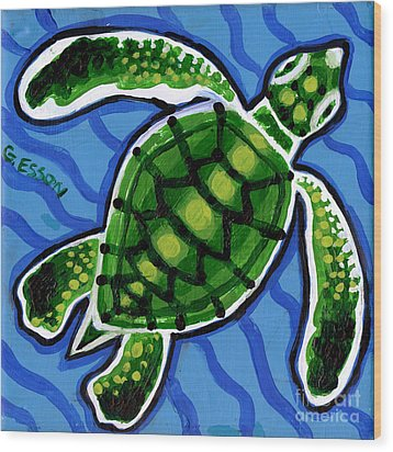 Baby Green Sea Turtle Wood Print by Genevieve Esson