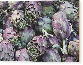 Background Of Artichokes Wood Print by Jane Rix