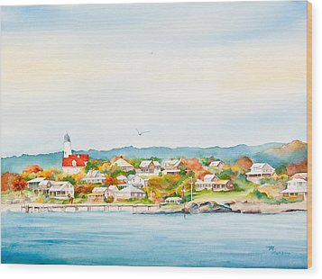 Bakers Island Lighthouse In Autumn Watercolor Painting Wood Print by Michelle Wiarda