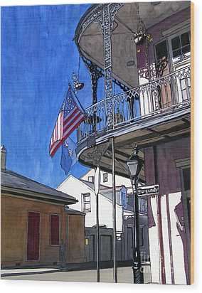 Balcony With American Flag Wood Print by John Boles
