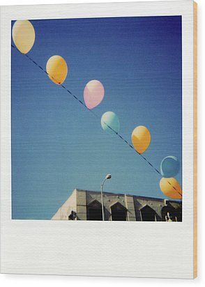 Balloons Wood Print by Nicole Apatoff
