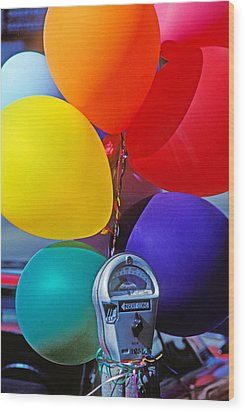 Balloons Tied To Parking Meter Wood Print by Garry Gay