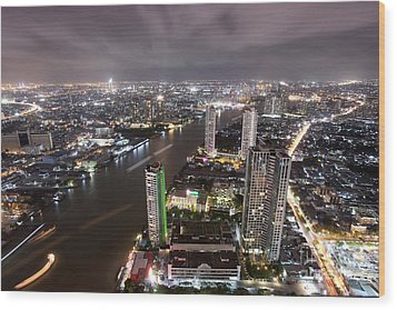 Bangkok City At Twilight  Wood Print by Anek Suwannaphoom