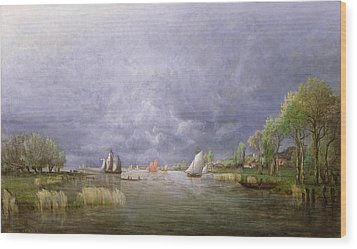 Banks Of The Loire In Spring Wood Print by Charles Leroux