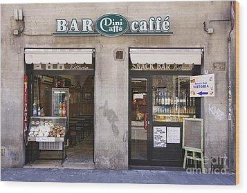 Bar Caffe Wood Print by Jeremy Woodhouse