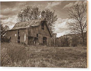 Barn In Turbulent Sky Wood Print by Douglas Barnett
