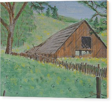 Barn On Hiway 20 Wood Print by Mick Anderson