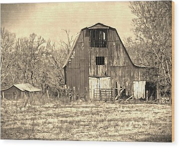 Barn-sepia Wood Print by EricaMaxine  Price