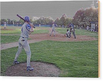 Baseball On Deck Digital Art Wood Print by Thomas Woolworth