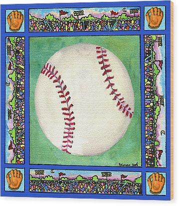 Baseball Wood Print by Pamela  Corwin