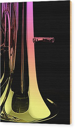 Bass Tuba Isolated On Black Wood Print by M K  Miller