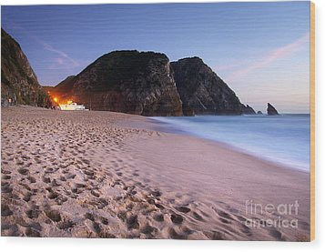 Beach At Evening Wood Print by Carlos Caetano