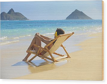 Beach Lounger II Wood Print by Tomas del Amo
