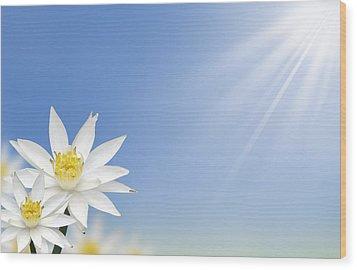 Beautiful White Lotus Flower  Wood Print by Natthawut Punyosaeng
