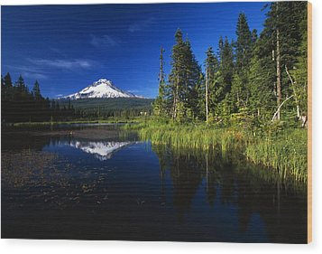 Beaver Dam In Pond, Reflection Of Mount Wood Print by Natural Selection Craig Tuttle