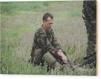 Belgian Paratroopers Red Berets Wood Print by Luc De Jaeger