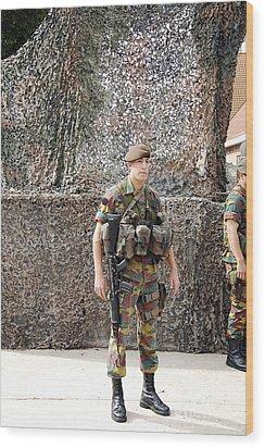 Belgian Soldier On Guard Wood Print by Luc De Jaeger