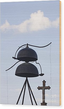 Bells And Cross Wood Print by Jeremy Woodhouse