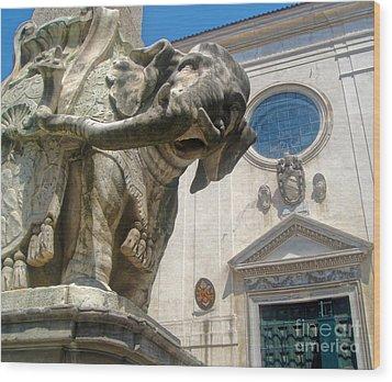 Bernini Elephant Statue And Santa Maria Sopra Minerva Wood Print by Gregory Dyer