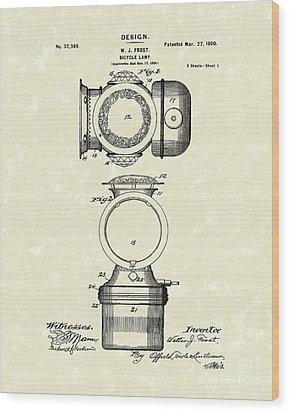 Bicycle Lamp Design 1900 Patent Art Wood Print by Prior Art Design