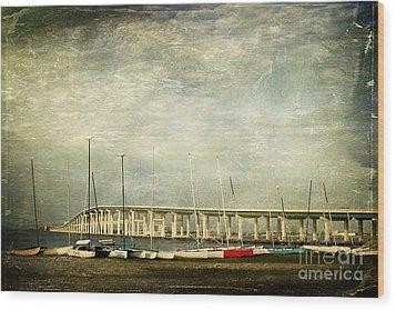 Biloxi Bay Bridge Wood Print by Joan McCool