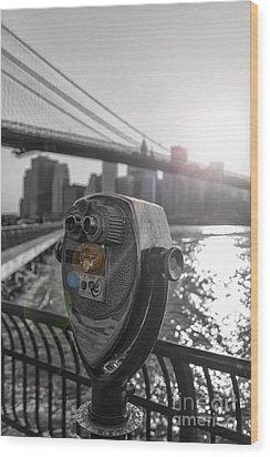 Binoculars Nyc View Wood Print by AHcreatrix