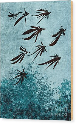 Birdeeze -v03 Wood Print by Variance Collections