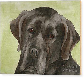 Black Labrador Wood Print by Cherilynn Wood