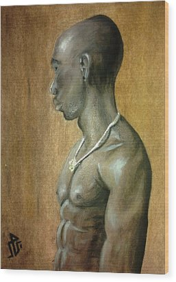 Black Man Wood Print by Baraa Absi