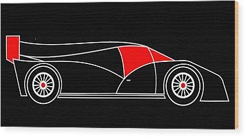 Black Rocket Racing Car Virtual Car Wood Print by Asbjorn Lonvig