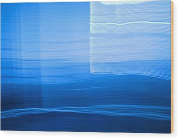 Blue Abstract 1 Wood Print by Mark Weaver