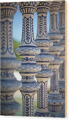 Blue And White Ceramic Fence Wood Print by Kim Haddon Photography