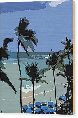 Blue Beach Umbrellas Wood Print by Karen Nicholson