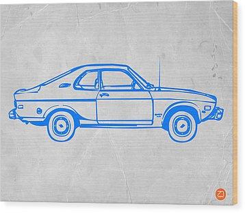 Blue Car Wood Print by Naxart Studio