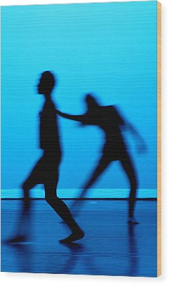 Blue Dancers Wood Print by Kenneth Mucke