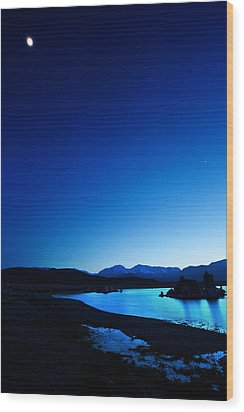 Blue Dusk Mono Lake Wood Print by Sylvia J Zarco