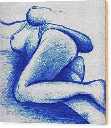 Blue Female Nude Wood Print by A Karron