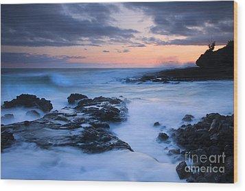 Blue Hawaii Sunset Wood Print by Mike  Dawson