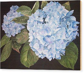Blue On Blue Wood Print by Karen Casciani