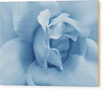 Blue Pastel Rose Flower Wood Print by Jennie Marie Schell