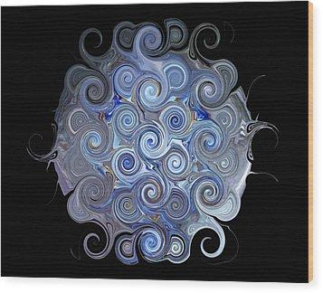 Blue Trails Wood Print by Yvette Pichette