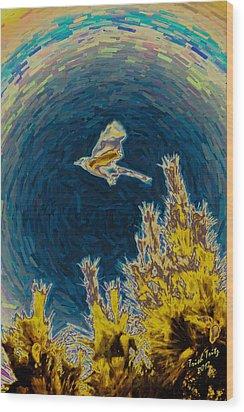Bluejay Gone Wild Wood Print by Trish Tritz