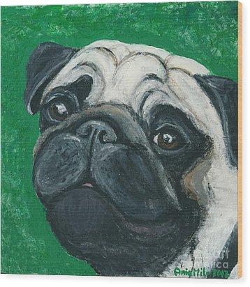 Bo The Pug Wood Print by Ania M Milo