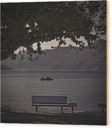 boat on the Lago Maggiore Wood Print by Joana Kruse