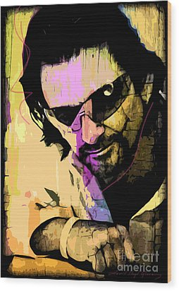 Bono Wood Print by David Lloyd Glover